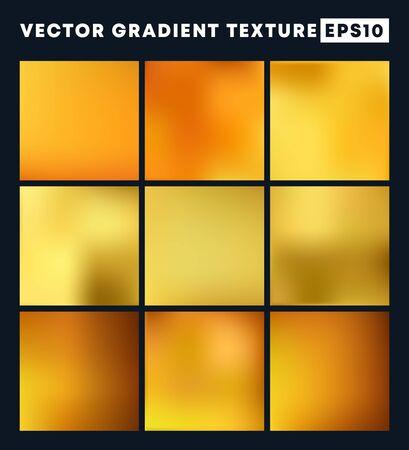 Golden gradient texture pattern set for the background. Vector illustration.