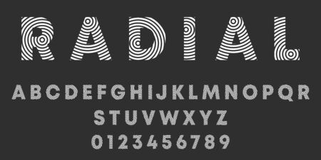 Alphabet letters and numbers of radialr design. Round lines font template. Vector illustration.