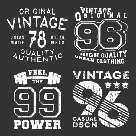 Set of vintage t-shirt print stamp for t shirt applique, tee badge, label, clothing tag, jeans, and casual wear. Vector illustration.