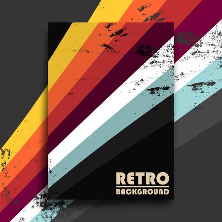 Retro design poster with vintage grunge texture and colorful stripes. Vector illustration.