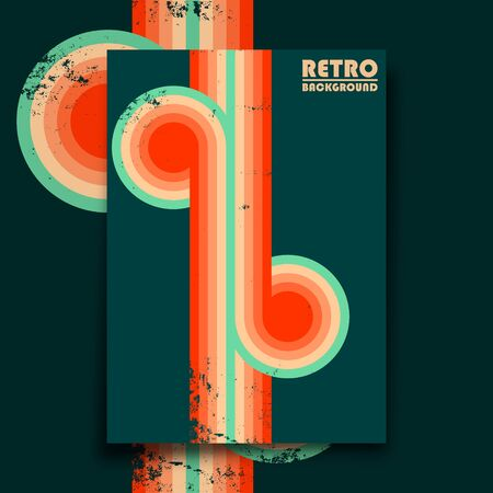 Retro design poster with vintage grunge texture and colorful twisted stripes. Vector illustration.