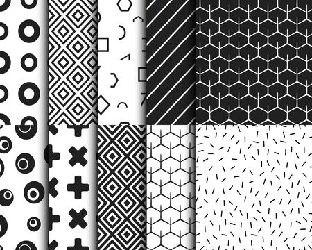 Conjunto de plantillas de fondo geométrico retro de patrones sin fisuras. Ilustración vectorial