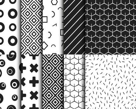 Ensemble de modèles de fond géométrique rétro sans couture. Illustration vectorielle