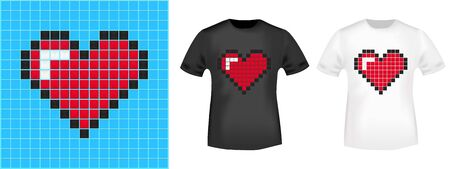 Pixel heart t-shirt print stamp for tee, t shirts applique, fashion, badge, label retro clothing, jeans, and casual wear. Vector illustration