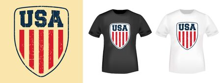 USA shield t-shirt print stamp for tee, t shirts applique, fashion, badge, label retro clothing, jeans, and casual wear. Vector illustration Иллюстрация