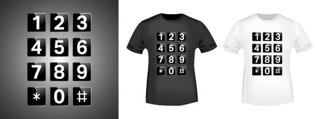 Keypad t-shirt print stamp for tee, t shirts applique, fashion, badge, label retro clothing, jeans, and casual wear. Vector illustration
