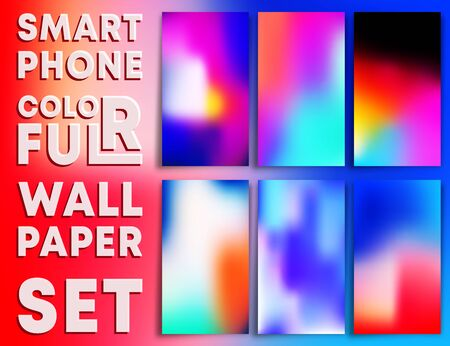 Colorful gradient texture wallpaper templates for smartphone screens. Mobile phone background set. Vector illustration