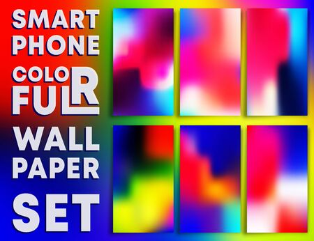Colorful gradient texture wallpaper templates for smartphone screens. Mobile phone background set. Vector illustration.