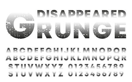 Disappeared design alphabet template. Letters and numbers with grunge texture. Vector illustration Ilustração