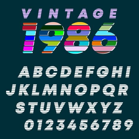 Alphabet letters and numbers vintage design. Slot line font template. Vector illustration