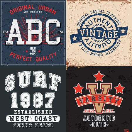 Set of vintage design print for t-shirt stamp, tee applique, fashion typography, badge, label clothing, jeans, and casual wear. Vector illustration.