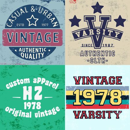 Set of vintage design print for t-shirt stamp, tee applique, fashion typography, badge, label clothing, jeans, and casual wear. Vector illustration