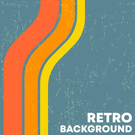 Retro grunge texture background with vintage color stripes. Vector illustration