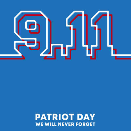9.11 Patriot Day - We will never forget background design for flyer, poster, memorial card, brochure cover, typography or other printing products. Vector illustration Ilustracja