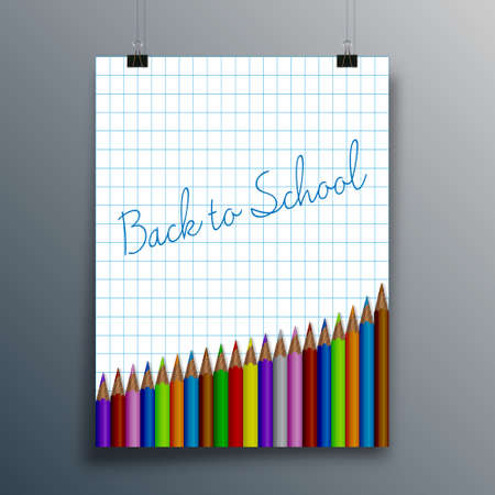 Back to School typography design for poster, flyer, brochure cover, or other printing products. Vector illustration Ilustracja