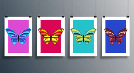 Butterfly abstract design cover set for background, flyer, poster, brochure, typography, or other printing products. Vector illustration