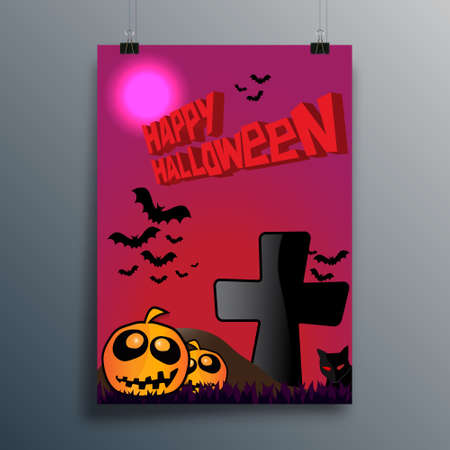 Happy Halloween typography design for poster, flyer, brochure cover, or other printing products. Vector illustration Ilustração