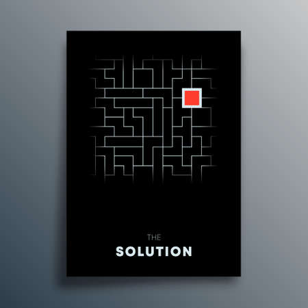 Solution abstract typography design for poster, flyer, brochure cover, or other printing products. Vector illustration