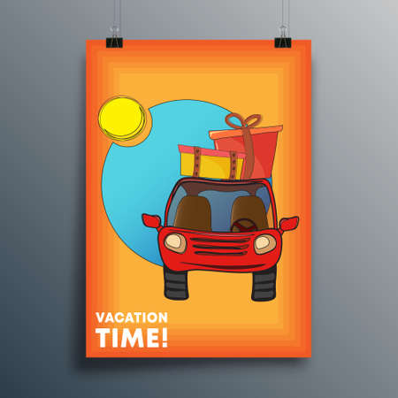 Vacation Time cover design for poster, flyer, brochure, cover, typography, or other printing products. Vector illustration