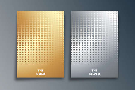 Set of Gold and Silver background with halftone texture design for flyer template, poster, brochure cover, typography, or other printing products. Vector illustration