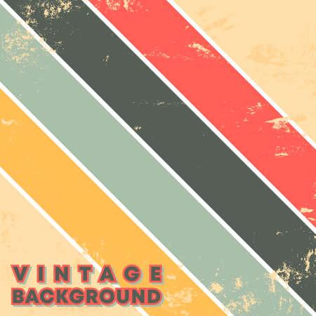 Vintage grunge texture background with retro color stripes. Vector illustration Ilustração