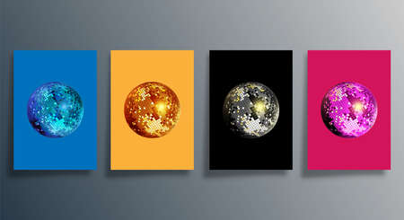Disco ball in various colors. Set of mirrorball design for party flyer, brochure cover, or retro poster. Vector illustration