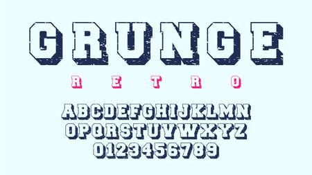 Grunge alphabet template. Letters and numbers of retro design. Vector illustration Ilustração
