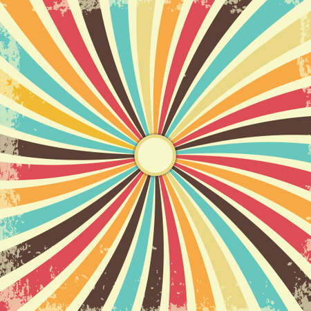 Retro grunge texture background with vintage swirly rays. Vector illustration Иллюстрация