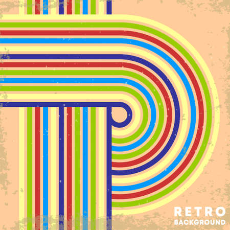 Retro grunge texture background with vintage striped lines. Vector illustration