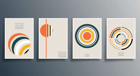 Geometric minimal design set for flyer, poster, brochure cover, background, wallpaper, typography, or other printing products. Vector illustration 写真素材 - 159471847