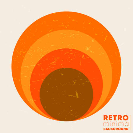 Retro grunge texture background with the vintage striped sun. Vector illustration  イラスト・ベクター素材