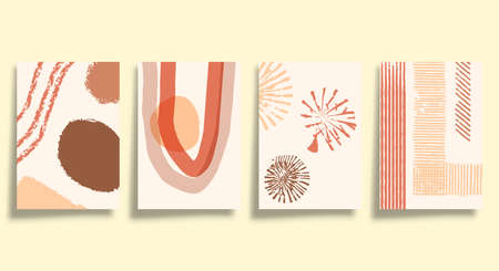 Set of abstract minimalistic typography with hand drawn shapes design for poster, flyer, brochure cover, or other printing products. Vector illustration