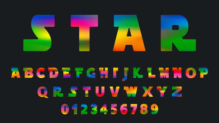 Alphabet colorful template. Set of letters and numbers futuristic design. Vector illustration.