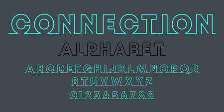 Connection alphabet template. Set of letters and numbers line design. Vector illustration