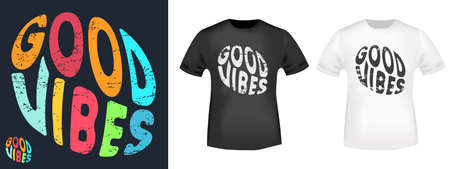 Good vibes typography for t-shirt stamp, tee print, applique, fashion slogan, badge, label clothing, jeans, and casual wear. Vector illustration 写真素材 - 161624545
