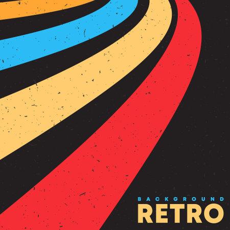 Grunge retro texture background with vintage color stripes. Vector illustration.
