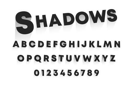 Shadows alphabet template. Set of letters and numbers 3D design. Vector illustration.