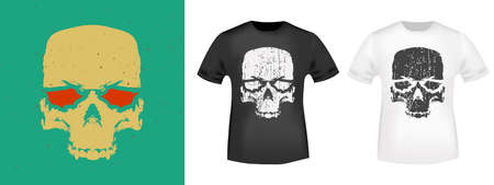 Skull typography for t-shirt stamp, tee print, applique, fashion symbol, badge, label clothing, jeans, and casual wear. Vector illustration.  イラスト・ベクター素材