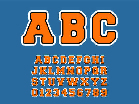 ABC alphabet template. Set of letters and numbers retro design. Vector illustration 写真素材 - 163543360