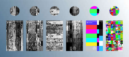 Set of story highlights covers with glitch effect. Vector illustration  イラスト・ベクター素材