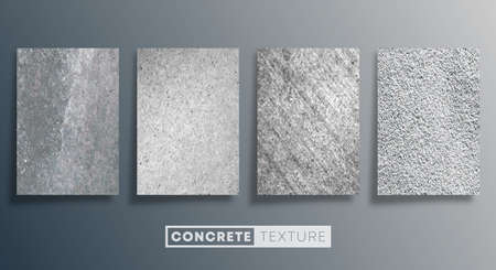 Concrete texture background set. Grunge stone wall design. Vector illustration