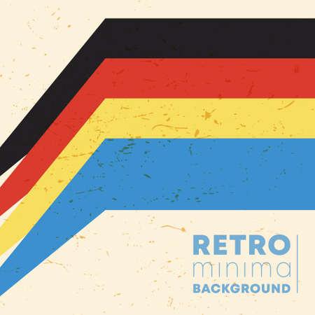 Vintage color stripes background with retro grunge texture. Vector illustration