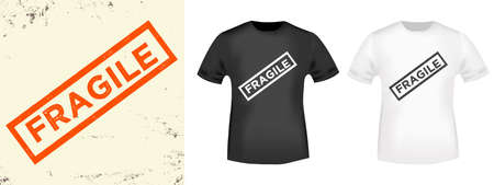 Fragile typography for t-shirt, stamp, tee print, applique, fashion slogan, badge, label clothing, jeans, or other printing products. Vector illustration