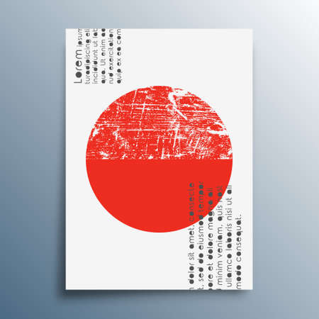 Red sun minimal design for poster, banner, flyer, brochure cover, background, wallpaper, typography, or other printing products. Vector illustration