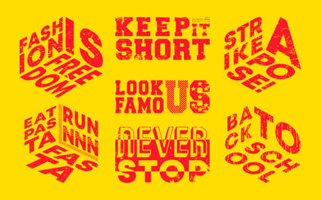 Fashion slogans set for t-shirt, stamp, tee print, applique, fashion slogan, badge, label clothing, jeans, or other printing products. Vector illustration