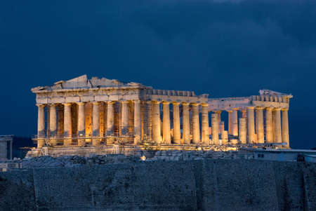 classical greece: Parthenon at night on Acropolis at Athens Greece Stock Photo