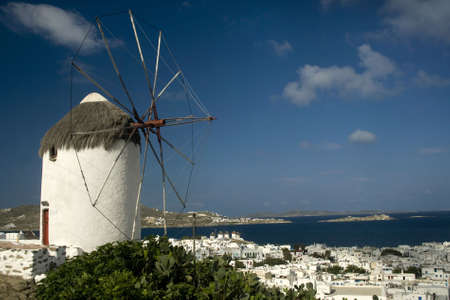 cyclades: Windmill and harbour Mykonos Cyclades, Greece