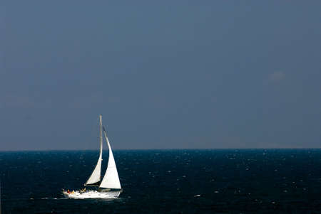 Sailing boat at an open sea, Greece