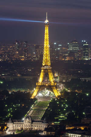 Paris, France, 30 June, 2010:  Eiffel Tower at night . Eiffel tower is the most visited monument of France and the most recognizable landmark of the world.