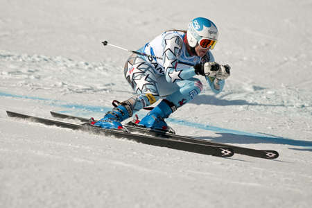 slalom: BANSKO, BULGARIA - FEBRUARY 24   Julia Mancuso  USA  competes in the  ladies